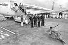 The first commercial flight by Singapore Airlines to Auckland International Airport is welcomed by Maori in 1976. Photo / NZME