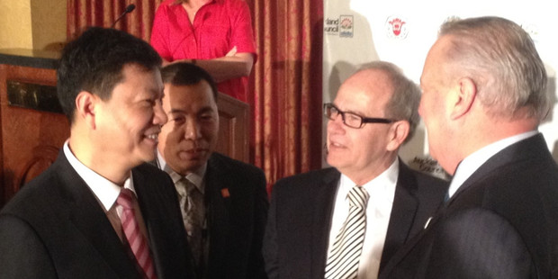 From left, former Guangzhou Mayor Chen Jianhua, Auckland Waterfront's John Hong, Auckland Mayor Len Brown and Auckland Councillor Bill Cashmore at the first Tripartite Economic Summit in Los Angeles.