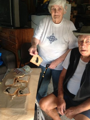 Waitangi couple Fred and Valerie Dyer found a surprise in their  bread this week. Photo / Lindy Laird