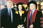 University of Waikato councillor Paul Adams, guest speaker Tina Jennen and  chancellor Jim Bolger at the university's graduation ceremony in Tauranga.