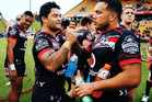 Issac Luke and Jazz Tevaga of the Warriors celebrate after winning the round nine NRL match between the New Zealand Warriors and the St George Illawarra Dragons. Photo / Getty Images.