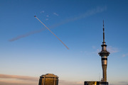 This giant 'X' seen in Auckland's skies this morning was a promotional stunt for a new movie. Photo/David Newport