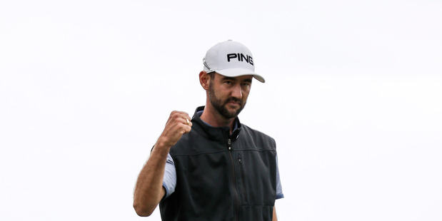 Pieter Zwart celebrates winning the Autex Muriwai Open, Muriwai Golf Club. Photo / Simon Watts