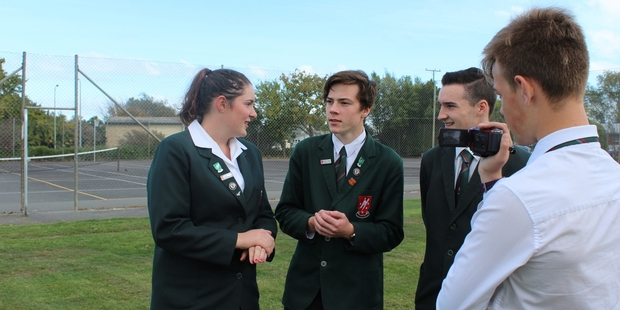 ON SCREEN: Rangitikei College students Gillian Bowler, Sam Hunter, Fionn O'Gorman and Zac Scott have been preparing the school's submission on the Rangitikei District Council annual plan. PHOTO/SUPPLIED