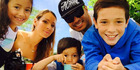 Radio host Sela Alo and his family - from left, Kaitlyn, Kathy, Josh and Kyan - love getting away to Whangateau. Photo / Sela Alo