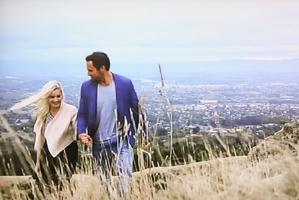 Fleur Verhoeven and Bachelor Jordan Mauger enjoy their visit to Te Mata Peak. Screengrab / Mediaworks