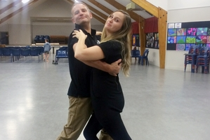 Kyra practising with her partner Brent Park.