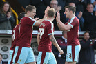 Sam Vokes of Burnley  celebrates with team mates after he scored against QPR. Photo / Getty