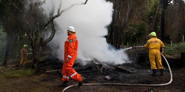 A shed caught fire yesterday afternoon. Photo / Andrew Warner