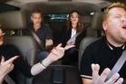Gwen Stefani, George Clooney, Julia Roberts and James Corden in Carpool Karaoke. Photo / Youtube