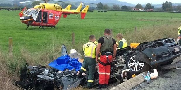 Emergency services at the scene of a crash which claimed the life of a Tauranga man near Tahuna. Photo/Phillips Search and Rescue Trust
