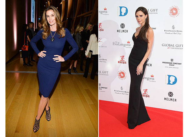 Cindy Crawford has a 26-inch waist whereas Victoria Beckham's is on the smaller side at only 23 inches. Photos / Getty Images
