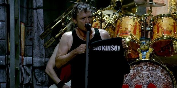 "Bruce it was ""a bit of a fantasy moment"" to have received the jersey, which bore the name B Dickinson. Photo / Iron Maiden YouTube"