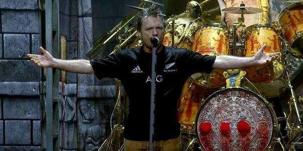 Loading Bruce Dickinson receives a jersey from the All Blacks. Photo / Iron Maiden YouTube