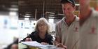 WorkSafe Otago health and safety inspector Lynn Carty discusses farm safety with East Otago farmer Willie Lawson. Photo / Sally Rae