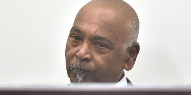Edward Anand listens as he is sentenced in the Dunedin District Court on historic sex charges. Photo / Otago Daily Times