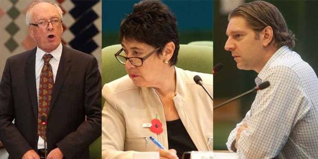 Rotorua Lakes councillors Rob Kent, Merepeka Raukawa-Tait, and Chief Financial Officer Thomas Colle.