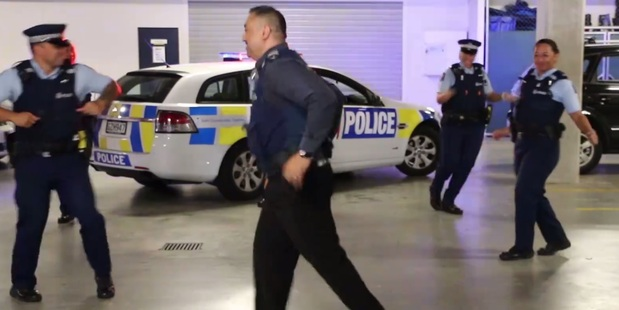Loading NZ Police get down with the 'running man' the late-80s dance move made popular by Janet Jackson. Photo / NZ Police