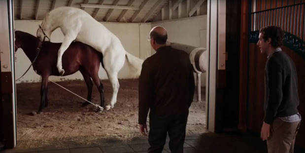 This scene showing horses having sex has been slammed by Peta. Photo: HBO/YouTube