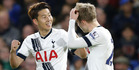 Tottenham's Son Heung-min, left, celebrates with Christian Eriksen after scoring. Photo / AP