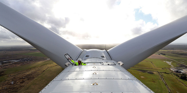 An employee closes the hatch after exiting the nacelle of a Vestas V164 wind turbine during operational testing at the Danish National Testing Centre in Osterild, Denmark. Photo / Bloomberg