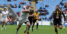 Thomas Waldrom breaks away to score for the Exeter Chiefs. Photo / Getty