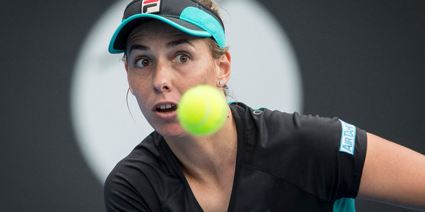 Marina Erakovic in action against Alexandra Dulgheru in the ASB Classic on Wednesday in Auckland. Photo / Greg Bowker