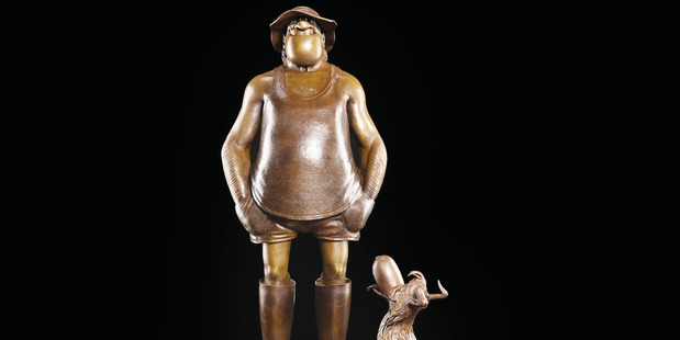 The bronzed representation of two of cartoonist Murray Ball's most famous characters - Wal and Dog. Photo / Supplied