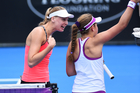 Naomi Broady, left, and Jelena Ostapenko engaged in a war of words at the ASB Classic. Photo / photosport.nz