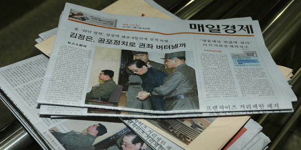The front page of a South Korean newspaper displays the news of Jang Song-Thaek's execution. Photo / Han Myung-Gu, WireImage