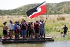 Members of Te Pari-o-Mahu Beach Access Group have built a raft to provide vehicle access Blackhead Point Beach in Porangahau.