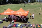 The gazebos were up for live scoring to begin on Tasman Tanning grounds one, two and three as the National Girls U15 Development Tournament started at Victoria Park in Whanganui yesterday afternoon. Photo / Stuart Munro