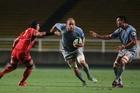 Matt Vant Leven (centre) in action for the Kobelco Steelers in Japan.
