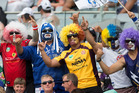 Fans enjoy the festivities at the NRL Auckland Nines. Photo / Brett Phibbs