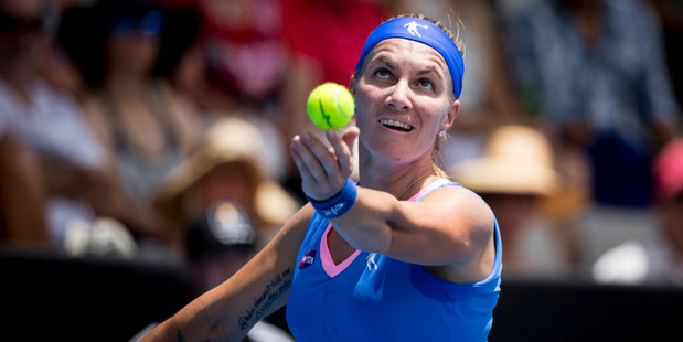 Svetlana Kuznetsova in action against Mona Barthel during day one of the ASB Tennis Classic. Photo / Dean Purcell.