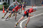 Christchurch's Ollie Jones leading the men's group in the very early stages of the men's marathon race yesterday. Jones would eventually lap them all. PHOTO/BEVAN CONLEY