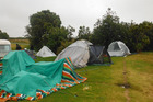 Thieves pilfered from the tents of Natalie Plows and her family as they slept at the Maitai Bay campsite, before they were rained out. Pictured is the family's other tent which had poles blown