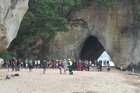 A 21-year-old man was rescued by the Auckland-Coromandel Westpac Rescue Helicopter after a near drowning at Cathedral Cove. Photo / Auckland rescue Helicopter Trust