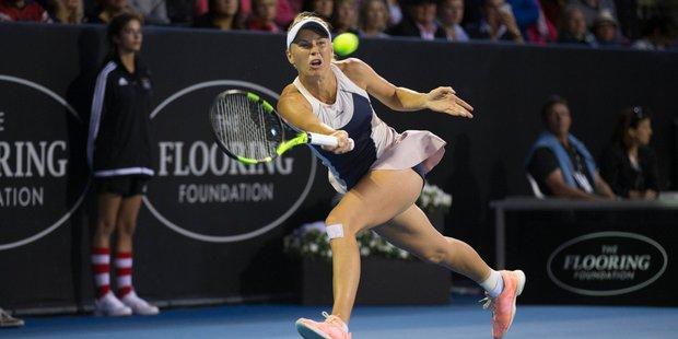 Loading Caroline Wozniacki of Denmark plays against Alexandra Dulgheru of Romania in the woman's quarter-finals at the ASB Classic. Photo / Nick Reed