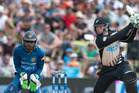 Martin Guptill helped set up New Zealand's win over Sri Lanka with a quickfire half-century. Picture / Alan Gibson.