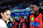 Australian reporter Mel McLaughlin interviewing a suggestive West Indian cricketer Chris Gayle. Photo / Supplied
