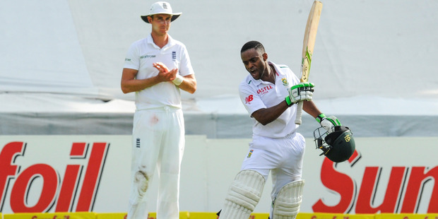 South Africa's Temba Bavuma celebrates his century as Stuart Broad watches on. Photo / AP