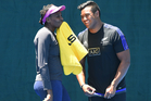 All Blacks player Julian Savea with Venus Williams during a promotional match ahead of the ASB Classic. Photo / Andrew Cornaga / www.photosport.nz