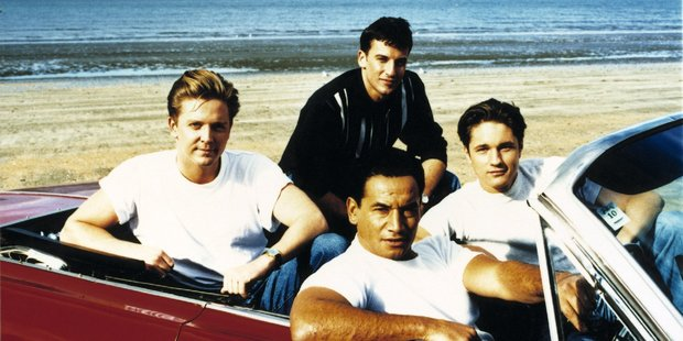 Martin Henderson with Shortland Street's Michael Galvin, Craig Parker and Temuera Morrison in the early days.