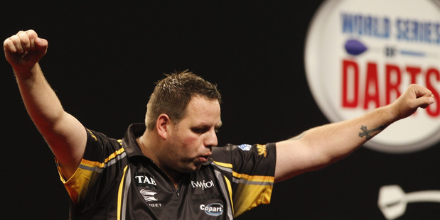 Adrian Lewis wins against Phil Taylor in the Auckland Dart Masters, semi-final at Trusts Arena on Sunday night. 30 August 2015. New Zealand Herald photograph by Nick Reed