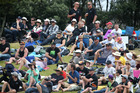 Spectators at the New Zealand Black Caps v South Africa game played at the Bay Oval in 2014.
