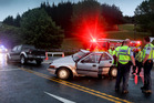 The scene of the crash on State Highway 2, just south of Waipawa Bridge, on Sunday night. Photo / Warren Buckland