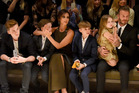 Victoria and David Beckham with, from left, children Brooklyn, Cruz, Romeo and Harper. Photo / Getty Images