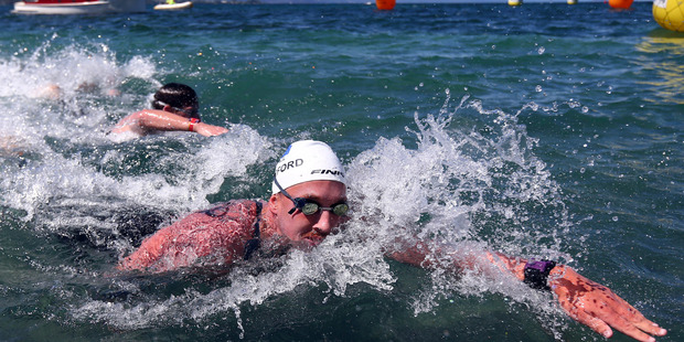 Kane Radford in action in last year's national open water championships in Taupo.