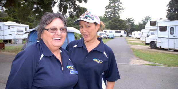 Mawley Park Camping Grounds assistants Viv Allanson, left, and Kelly Yee were waiting for another wave of visitors to the Masterton campsite. PHOTO/NATHAN CROMBIE